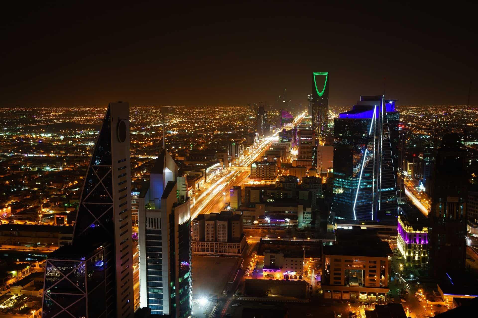 Night time view of Saudi Arabian city